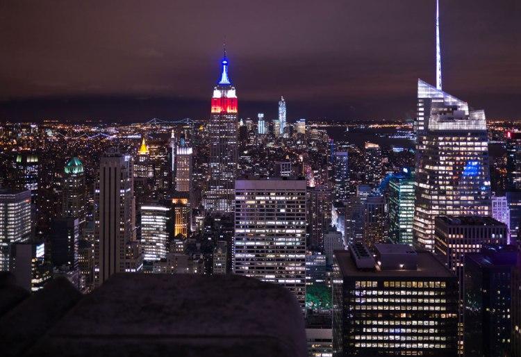 Empire State Bldg.,  One World Trade Center und Lady Liberty.